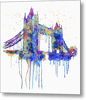 Tower Bridge Watercolor Metal Print by Marian Voicu