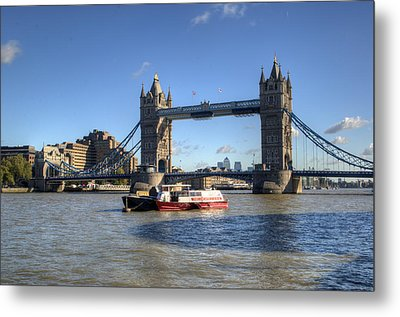 Tower Bridge With Canary Wharf In The Background Metal Print by Chris Day