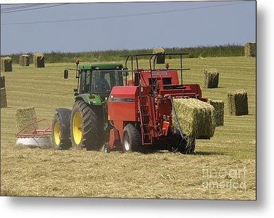 Tractor Bailing Hay At Harvest Time Metal Print by Andy Smy