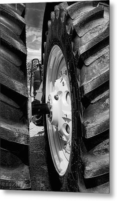 Tractor Tires Detail Black And White Metal Print by Ann Powell