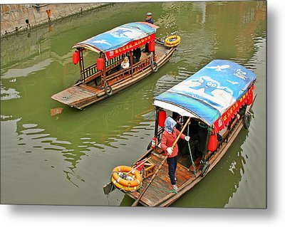 Traffic In Qibao - Shanghai's Local Ancient Water Town Metal Print by Christine Till