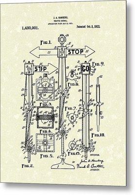 Traffic Signal 1922 Patent Art Metal Print by Prior Art Design
