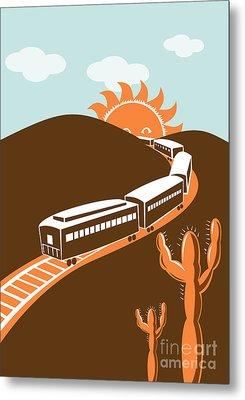 Train Desert Cactus Metal Print by Aloysius Patrimonio