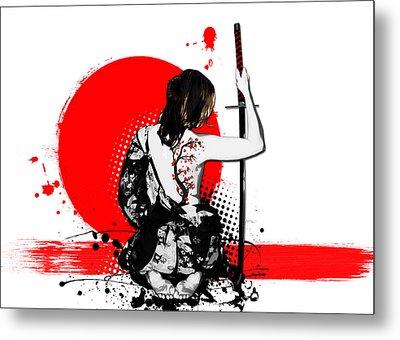 Trash Polka - Female Samurai Metal Print by Nicklas Gustafsson