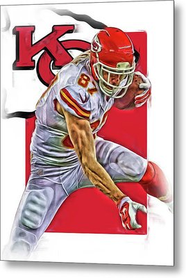 Travis Kelce Kansas City Chiefs Oil Art Metal Print by Joe Hamilton