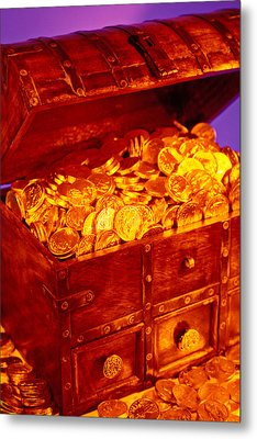 Treasure Chest With Gold Coins Metal Print by Garry Gay