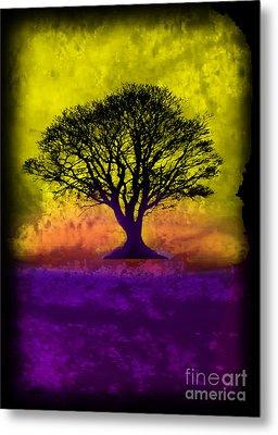 Tree Of Life - Yellow Sunburst Sky Metal Print by Robert R Splashy Art