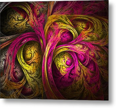 Tree Of Life In Pink And Yellow Metal Print by Tammy Wetzel