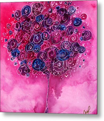 Tree Of Life Pink Swirl Metal Print by Christy  Freeman