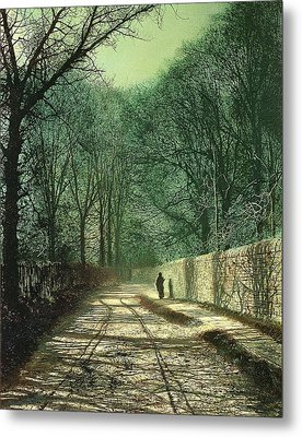 Tree Shadows In The Park Wall Metal Print by John Atkinson Grimshaw