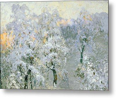Trees In Wintry Silver Metal Print by Konstantin Ivanovich Gorbatov