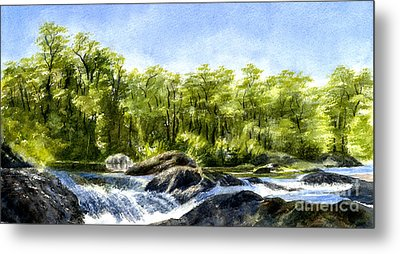 Trees With Rocks And Waterfall Metal Print by Sharon Freeman
