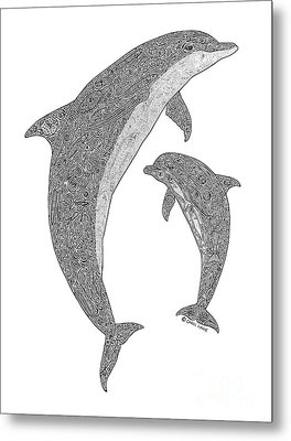 Tribal Bottle Nose Dolphin And Calf Metal Print by Carol Lynne