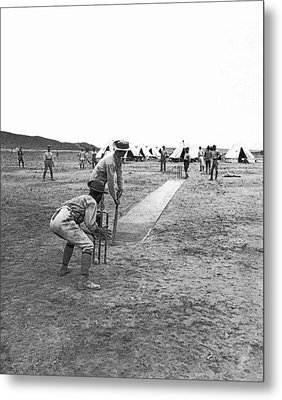 Troops Playing Cricket Metal Print by Underwood Archives