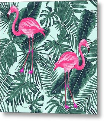 Tropical Pink Flamingo Metal Print by Mark Ashkenazi