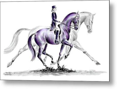 Trot On - Dressage Horse Print Color Tinted Metal Print by Kelli Swan