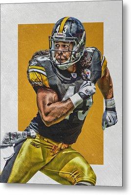Troy Polamalu Pittsburgh Steelers Art Metal Print by Joe Hamilton