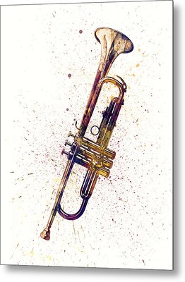 Trumpet Abstract Watercolor Metal Print by Michael Tompsett
