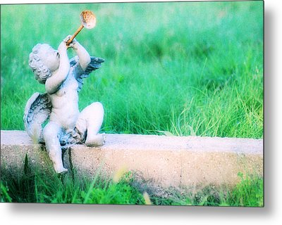 Trumpeting Cherub Metal Print by Captive Soul