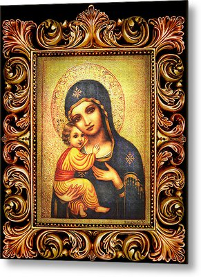 Tryptichon Madonna With Frame Metal Print by Ananda Vdovic