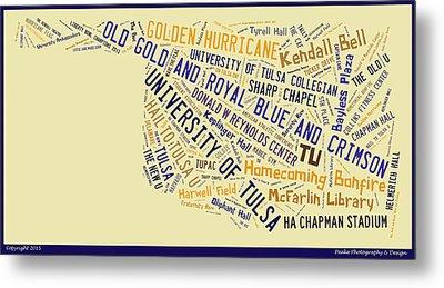 Tu Word Art University Of Tulsa Metal Print by Roberta Peake
