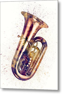 Tuba Abstract Watercolor Metal Print by Michael Tompsett