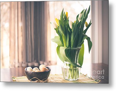 Tulip And Eggs Metal Print by Cheryl Baxter