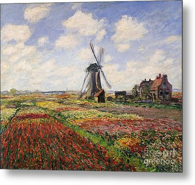 Tulip Fields With The Rijnsburg Windmill Metal Print by Claude Monet