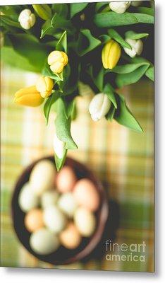 Tulip Table Setting Metal Print by Cheryl Baxter