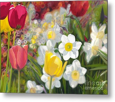 Tulips And Daffodils Metal Print by Nicole Shaw