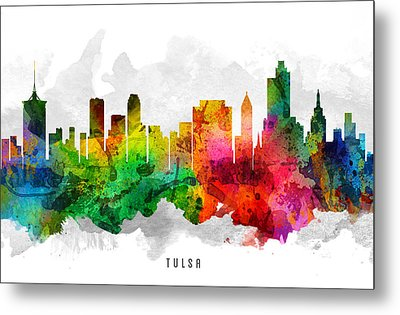 Tulsa Oklahoma Cityscape 12 Metal Print by Aged Pixel