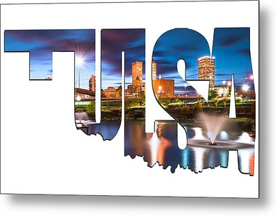 Tulsa Oklahoma Typographic Letters - Tulsa On The Water Metal Print by Gregory Ballos