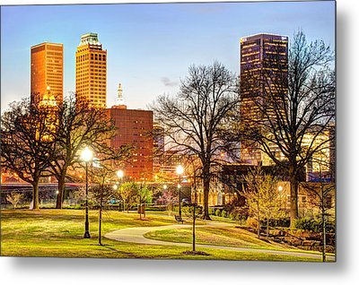 Tulsa Through The Trees Metal Print by Gregory Ballos