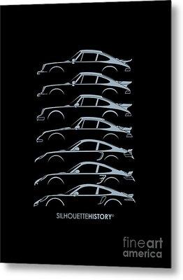Turbo Sports Car Silhouettehistory Metal Print by Gabor Vida