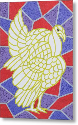 Turkey On Stained Glass Metal Print by Pat Scott