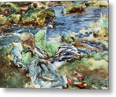 Turkish Woman By A Stream Metal Print by John Singer Sargent