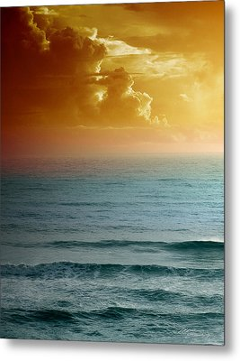 Turquoise Amber Sunrise Metal Print by Maria Eames