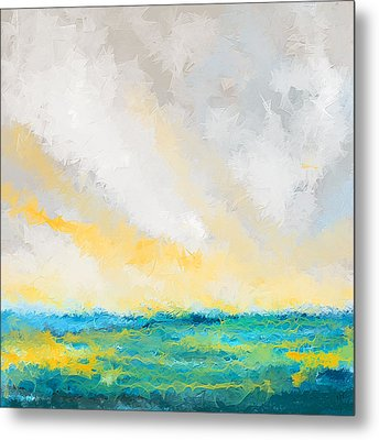 Turquoise And Yellow Art Metal Print by Lourry Legarde