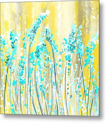 Turquoise And Yellow Metal Print by Lourry Legarde