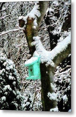 Turquoise Birdhouse In Winter Metal Print by Susan Savad