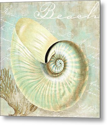 Turquoise Sea Nautilus Metal Print by Mindy Sommers