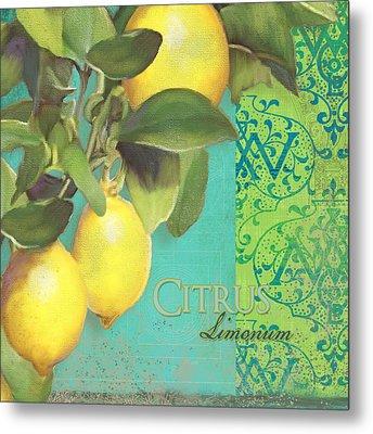Tuscan Lemon Tree - Citrus Limonum Damask Metal Print by Audrey Jeanne Roberts