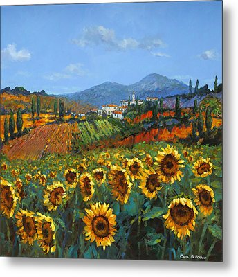 Tuscan Sunflowers Metal Print by Chris Mc Morrow