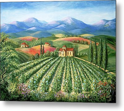 Tuscan Vineyard And Abbey Metal Print by Marilyn Dunlap