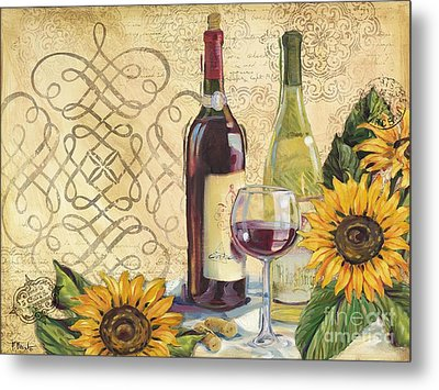 Tuscan Wine And Sunflowers Metal Print by Paul Brent