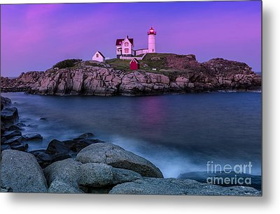 Twilight At Nubble Lighthouse Metal Print by Jerry Fornarotto