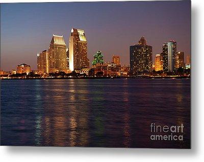 Twilight On San Diego Harbor Metal Print by Sandra Bronstein