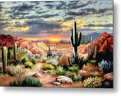 Twilight On The Desert Metal Print by Ron Chambers