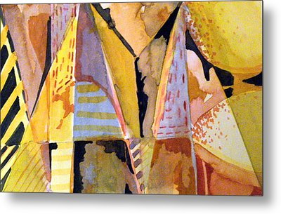 Twin Golden Pyramids Metal Print by Mindy Newman