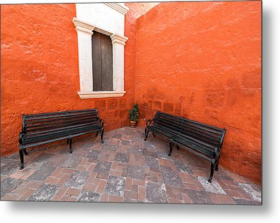 Two Benches In A Monastery Metal Print by Jess Kraft
